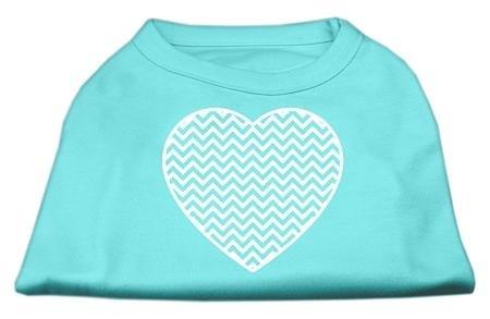 Mirage Pet Products Hunde-Shirt mit Chevron-Herz, Siebdruck, Large, Aqua - Aqua-herz Shirt