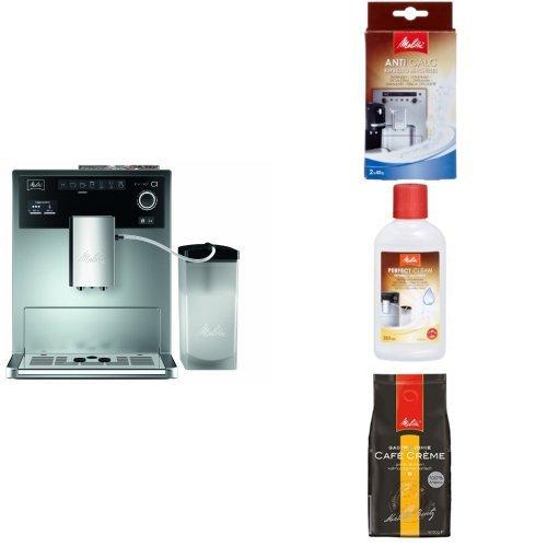 Melitta Starter Pack: Melitta E 970-101 silber Kaffeevollautomat Caffeo CI, silber/schwarz  + Entkalker + Milchreiniger + Professional Café Crème