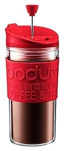 Bodum Travel Press Set Coffee Maker with Extra Lid, 0.35 L/12 oz - Red