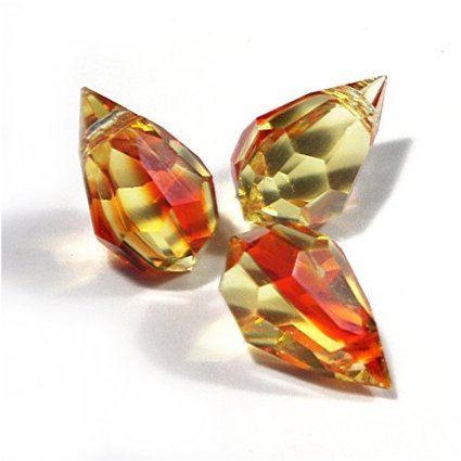 10 pcs Fire Opal Glass Faceted Teardrop Briolette Beads, Top