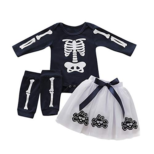 Baby Mädchen Halloween Outfits, Schädel Skelett Strampler Rock Beinwärmer Set für Kleinkinder Kleinkind (0-6 Monat, Schwarz) (Schwarz Baby Kostüm)