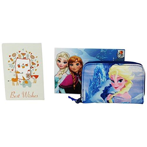 Disney Frozen Portafogli Bambina Portamonete Portatessere Blu