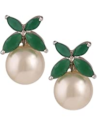 Swasti Jewels Floral Shaped Rhodium Plated Zircon And Pearls Statement Stud Earrings For Women