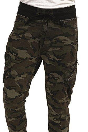 trueprodigy Casual Herren Marken Jogginghose mit Aufdruck, Sweathose cool und stylisch Vintage (Sportlich & Slim Fit), Chino Sweatpant für Männer bedruckt Farbe: Khaki 6473106-0629-XL