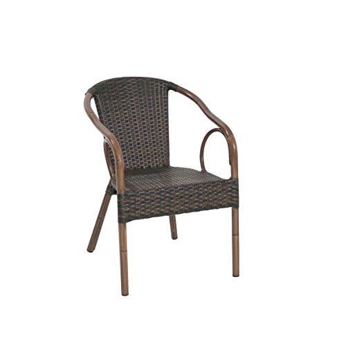 greemotion Rattan-Bistrostuhl Laos - Gartenstuhl bicolor-braun- Rattanstuhl stapelbar, niedrige Rückenlehne - Stapelstuhl aus Polyrattan-Geflecht - Outdoor-Stuhl für Garten, Terrasse & Balkon