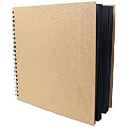 Artway Enviro - Cuaderno de cartulinas negras - 100 % reciclado - 270 gsm - Cuadrado y grande - 285 x 285 mm - 30 hojas