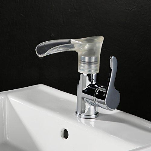 KINSE® LED RGB Messing Wasserhahn Wasserfall Küchenarmatur Waschtischarmatur Einhebelmischer für Küchen -