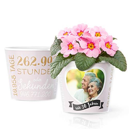 30. Hochzeitstag Geschenk - Blumentopf (ø16cm)   Deko Geschenke zur Perlenhochzeit für Mann oder Frau mit Herz Bilderrahmen für 1 Foto (10x15cm)   Glücklich Verheiratet - 30 Jahre