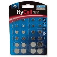 HyCell 24x Knopfzellen-Sparset/Je 2x CR2032 CR2025 CR2016 CR1620 LR41 LR43 LR44 LR626 LR621 LR754 LR1120 LR1130/Ideal für Autoschlüssel TAN-Gerät Kinderspielzeug Uhren etc.