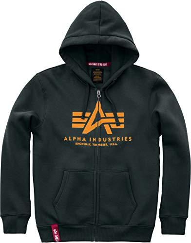 Alpha Industries Basic - Felpa con Cappuccio e Cerniera, da Uomo Petrolio Scuro S