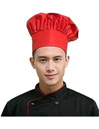 LEORX - Gorro de cocinero alargado, para cocina y restaurante (color rojo)