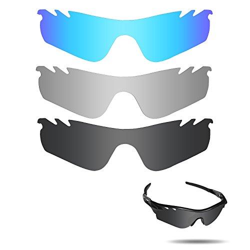 Fiskr Anti-Saltwater Polarisierte Ersatz Gläser für Oakley Radarlock Path Belüftet 3Paar Pack, Stealth Black & Metallic Silver & Ice Blue