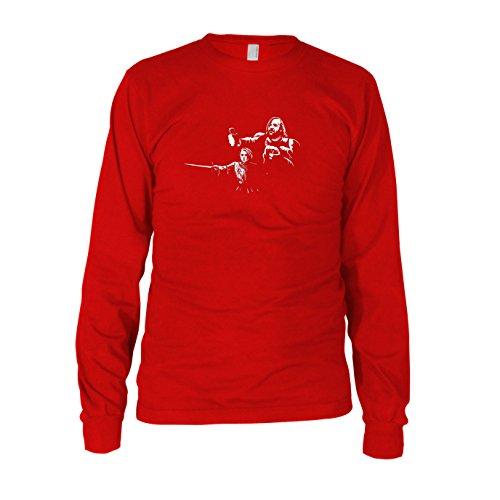 GoT: Arya Fiction - Herren Langarm T-Shirt, Größe: XXL, Farbe: rot (Arya Stark Shirt Kostüm)