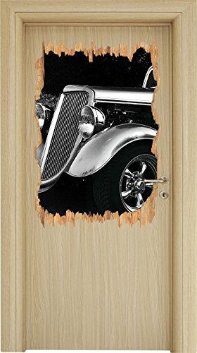 Luxus Oldtimer Holzdurchbruch im 3D-Look , Wand- oder Türaufkleber Format: 92x62cm, Wandsticker, Wandtattoo, Wanddekoration