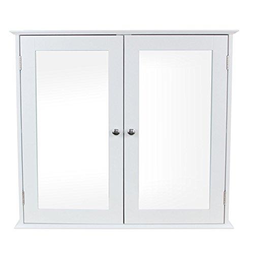1PLUS Badezimmerschrank Hängeschrank Spiegelschrank mit Zwei Türen aus Holz, Weiß, 68 x 60,5 x 17