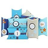 Calendrier de l'Avent DIY - avec Washi Tape et numéros Autocollants - 24 boites oreillers en Carton - Motif Bleu-Gris