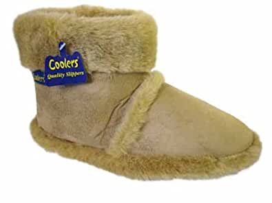 New Mens Cooler Brand Snugg Boot Slipper Microsuede Outer with Thick Fluffy Collar And Lining - To Fit UK Shoe Size 7-8 / 9-10 / 11-12, Beige Small