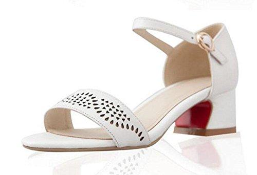 GLTER Femme cheville cheville pompe Mature blanc mi-talons brûlés creux rétro mot sandales chaussures en cuir White