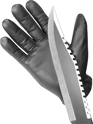 normani Einsatzhandschuh Super Defender aus Leder mit Quarzsandfüllung und schnitthemmenden Kevlar Farbe Black Größe XL