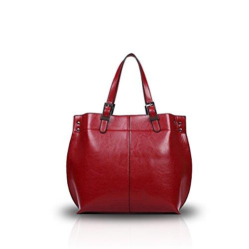 Nicole&Doris Pelle nuova delle donne della spalla del Tote retro borsa alla moda Magnifico Big Bag PU Vino rosso