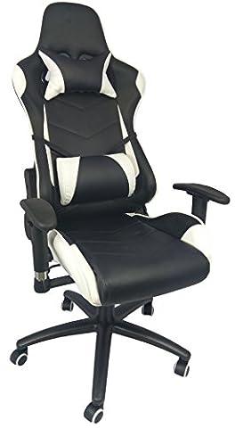 Noir et blanc inclinable Sports PU Cuir Executive Bureau d'ordinateur ergonomique haute Dos Chaise de bureau