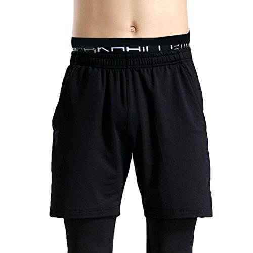 Zhhlaixing Fashion Mens Sports Shorts Breathable Quick Dry Fitness Workout Shorts Black&Dark gray