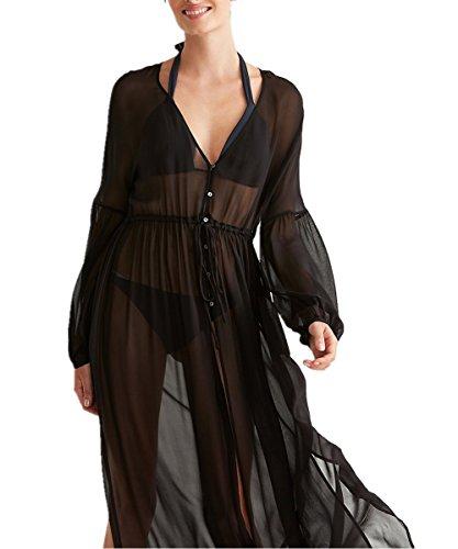 L-Peach Damen Sommer Chiffon Langes Shirt Bikini Cover up Lose Casual Kaftan Strandkleid Sommerkleid Beachwear One Size Schwarz
