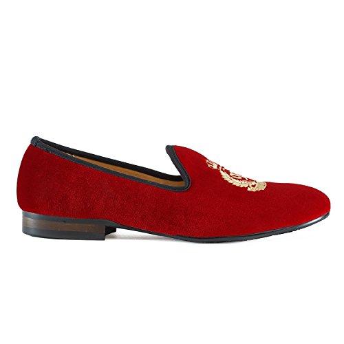 Journey West Mocassins Homme Broderie Noble Mocassins Velours Chaussure Vintage Chausson Fantaisie Chaussures Homme Loafers Homme Slippers Homme Pantoufle Noir/Rouge/Bleu couronne impériale rouge