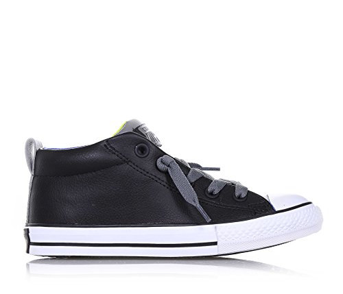 Converse Youths Chuck Taylor Street Mid Slip On Leather Trainers Nero