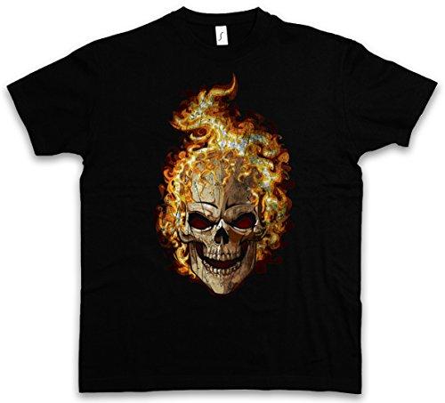 Rose Tattoo T-shirt (Burning Skull II T-Shirt – Brennender Schädel Dead Totenschädel Totenkopf Tattoo Art Rockabilly Skeleton Roses Artist Flash Death Reaper Bones Oldschool Totenschädel Größen S – 5XL)
