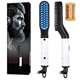 Beard and Hair Straightener for men Multifunctional Hair Styler Electric Hot Comb and Beard Straightening Brush Hair Straightening Comb Used with Dual Voltage 110-240V Portable Travel(White)