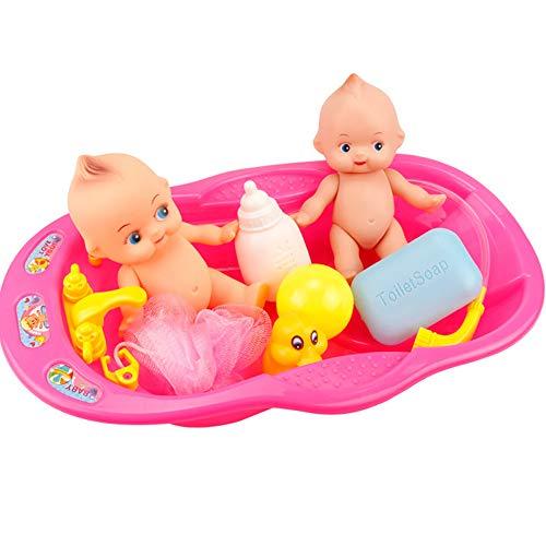 LIJJY Baby Bade Puppe Badewanne Wasser Spielen Spielzeug Kombination, kleine Wanne Kinder Simulation Spielzeug Mädchen,Pink