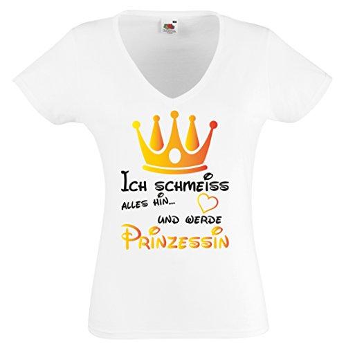 ICH SCHMEISS ALLES HIN UND WERDE PRINZESSIN- Lustiges Shirt V Neck Damen T-Shirt Gr S bis XXL WEISS-SCHWARZ-GOLD