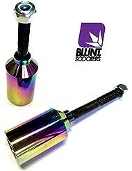 Blunt stunt pegs rainbow neochrome aluminium avec essieux
