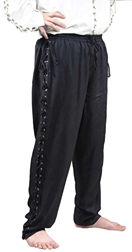 ThePirateDressing Pirate Medieval Renaissance Lace-Up Pants Costume C1122 [Black] [X-Large] Lace Up Pirate