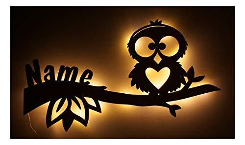 Schlummerlicht24 Led Design Eule Nachtlicht Lampe Baby-Geschenke zur Geburt Taufe mit individuell-em Name-n Geburts-Geschenk personalisiert-e Kommunion Taufgeschenk-e Kind-er Zimmer Beleuchtung Babys