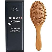 Cepillo Sabello Plano,LUOLLOVE Natural Cepillo Pelo Bambu,Antiestático,Dientes de Peine Lisos