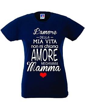 Babloo T-Shirt Cotone Idea Regalo Festa della Mamma L'Amore della Mia Vita