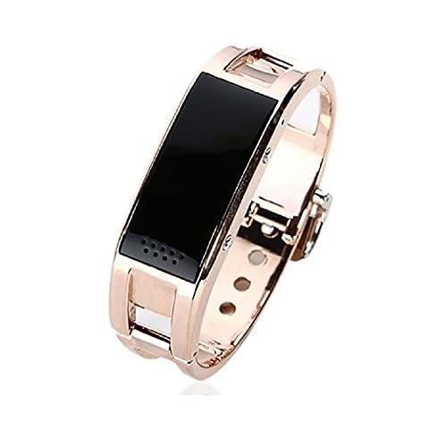 Smart-Armband Wasserdichte Bluestercool Bluetooth Metall Smart Watch (Gold)