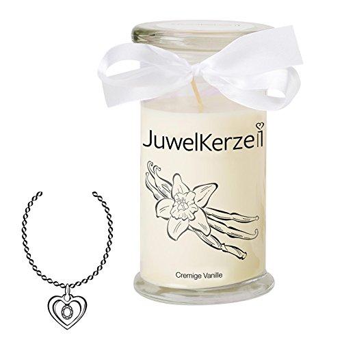 JuwelKerze Cremige Vanille - Kerze im Glas mit Schmuck - Große beige Duftkerze mit Überraschung als Geschenk für Sie (Silber Halskette & Anhänger, Brenndauer: 90-120 Stunden)
