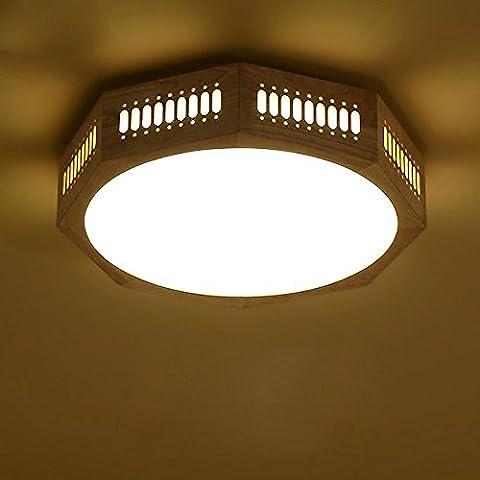 ZHY Luz de techo de madera sección Líneas verticales de grandes 56cm [Enviar]