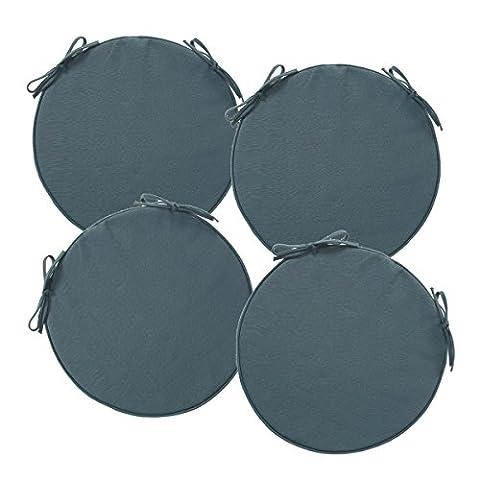 Lot de 4 Galettes de chaises rondes déhoussables et avec attaches - Spécial Extérieur - Coloris GRIS