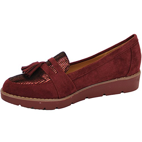 Donna Camoscio LOOK MOCASSINI VINTAGE SCARBE da donna zeppa slip on frangia nappe PARTY VINO - Y58