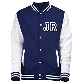 KIDS VARSITY JACKET WITH FRONT INITIALS(S-Age 5/6 - Oxford Navy / White) NEW PERSONALISATION PREMIUM Unisex American Style Letterman College Baseball Custom Top Boy Girl Children Child Gift Present AWD Soulstar Omega Bomber - By Fonfella