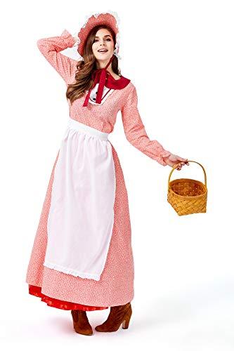Kostüm Bauernmädchen Halloween - YuStar Halloween-Kleid für Frauen Bauernmädchen-Kostüm rosa Herrenhaus-Kostüm Abendkleid mit Hut Gr. L, blau
