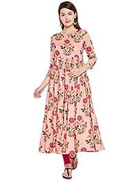 Tissu Women Peach Floral Printed Pleated Flared Kurta