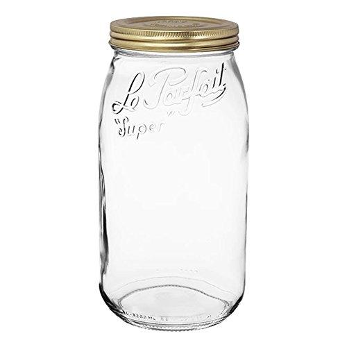 Le Parfait Schraube Top-breit Mund Französische Glas Einmachgläser-Zero Abfall Verpackung fein 3000ml - 96oz - 3L Gold Lid farblos Half Pint Mason Jar