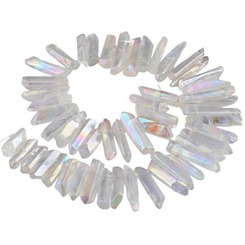 KYEYGWO Titanium Beschichtet Kristall Punkt Perlen Poliert Stein Sticks Spikes Natürliche Quarz Gebohrt 15 Zoll Strang Lose Perlen für Schmuck Machen (Kristall Quarz Chakra Anhänger)