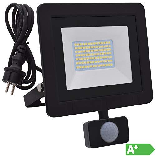 Lumare 50W LED Strahler mit Bewegungsmelder und Anschlußstecker 5000lm außen und innen IP65 ersetzt ca. 500W Mini Flutlicht Lampe 3000K warmweiß 230V