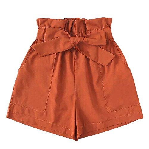 Sonnena Kurze Hosen, Damen Loose Sommer Tasche Lässige Design Hohe Taille lose modische Volltonfarbe Shorts Frau mit Bow Gürtel -